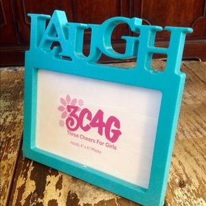 "PHOTO FRAME AQUA BLUE ""LAUGH"" FITS 4"" x 6"" 3C4G"